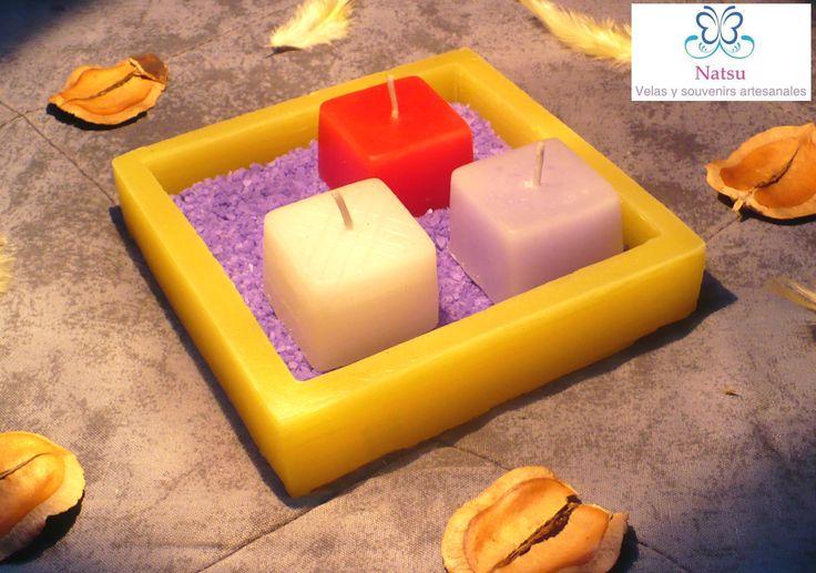 El centro de mesa ideal base de color amarillo con un - Base de vela ...