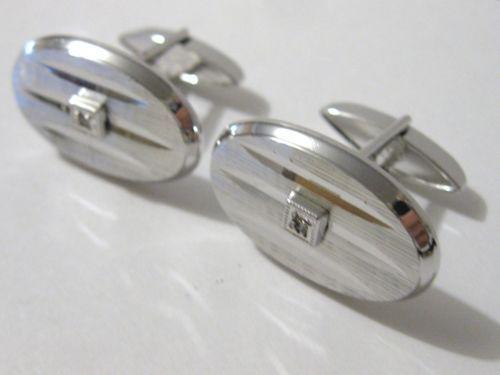 Botões de punho, prata Sterling (925), marca Swank, pedra: safira Vintage oval Swank, Sterling silver, cufflinks, white sapphire.