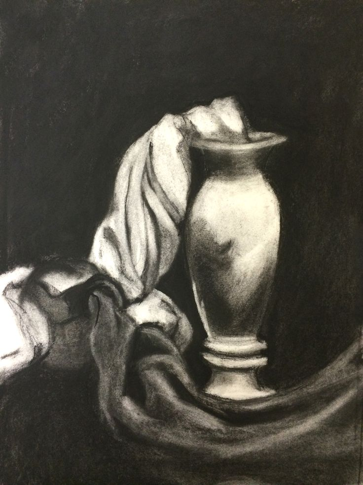 Observational drawing, charcoal on paper