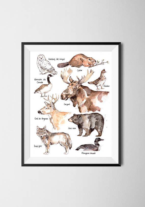 Affiche animaux de la faune du Québec à l'aquarelle par MarieEveArpinArt