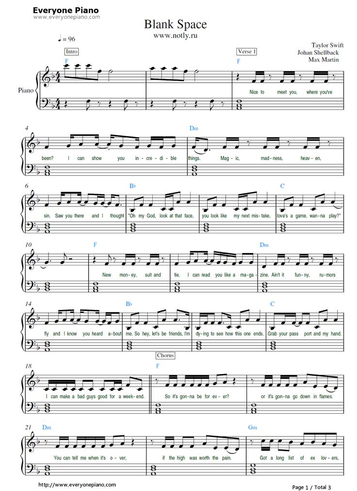 Free Blank Space-Taylor Swift Sheet Music Preview 1