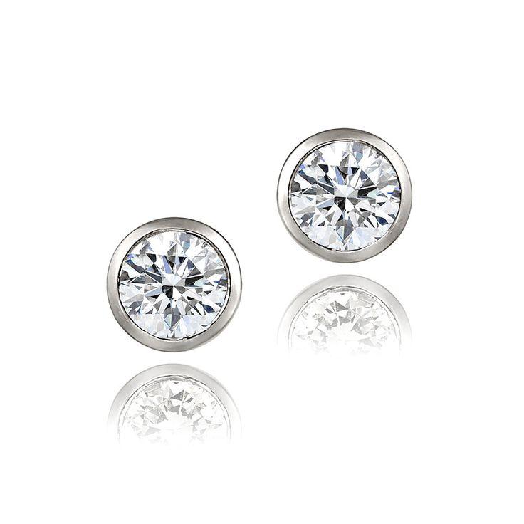 ICZ Stonez Zirconia Ice Sterling Silver 6mm Bezel-set Martini Swarovski Zirconia Stud Earrings, Women's