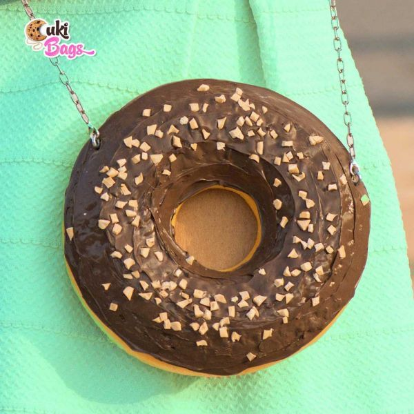 A beautiful handmade DONUT clutch/purse bag glazed with milk chocolate and decorated with small pieces pieces of marshmallows. The perfect bag for a garden party! WORLDWIDE DELIVERY - FREE SHIPPING for orders over $200;