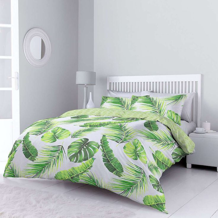 Tropical Leaves Green Bed Linen Collection | Dunelm