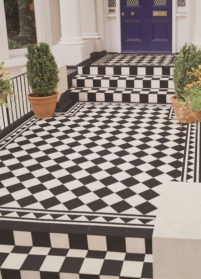 Victorian Floor Tiles - spruce up the exterior of your home too with the Dorchester pattern and Byron border in timeless monochrome.