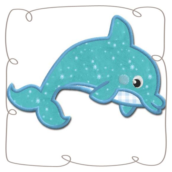 Dolphin Applique Machine Embroidery Design Pattern-INSTANT DOWNLOAD