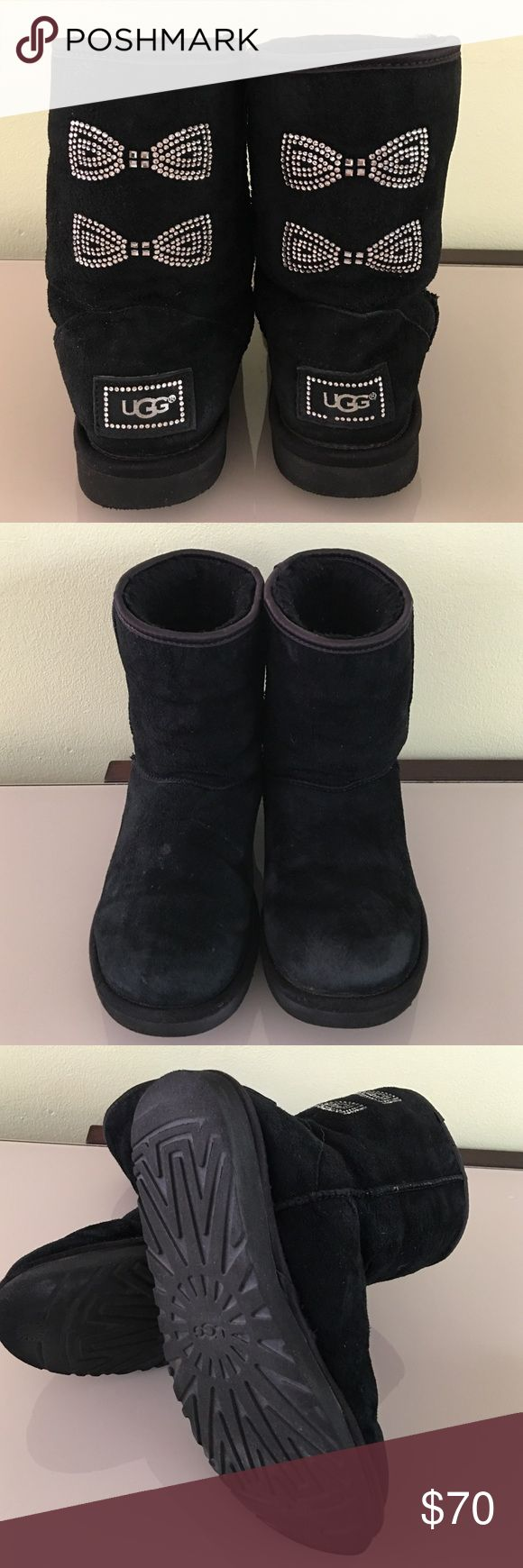UGG SWAROVSKI CRYSTAL BOWS BOOTS BLACK SIZE 7 UGG Australia Swarovski Crystal  Bows Boots Black Size7. In great used condition with minor water spots. 🚫No trades Thank you😊 UGG Shoes Winter & Rain Boots