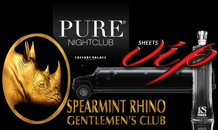PURE BACHELOR VEGAS PACKAGELIMO PICK UP FROM HOTEL TO SPREARMENT RHINO- 1 BOTTLE OF ( KETTLE, CROWN, JACK, CAPTIAN MORGAN)- LIMO PICK UP FROM SPREARMENT RHINO TO PURE NIGHTCLUB- ESCORTED BY SHEETS VIP TO YOUR PRIVATE TABLE- PRIVATE AREA SECURITY- TRADITIONAL MIXERS INCLUDE-( ORANGE JUICE, SODA WATER, TONIC, CRANBERRY JUICE) -PURE NIGHTCLUB- INCLUDES 2 BOTTLES OF ALCOHOL -RED BULL AND WATER ARE EXTRA