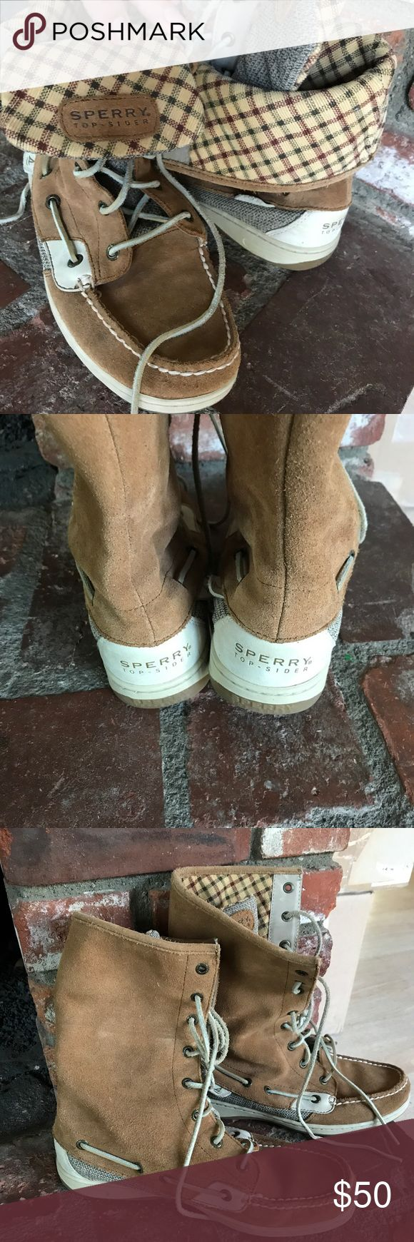 SPERRY ❤️Last CHANCE❤️ Weatherproofed and worn once. Can be folded into a shorter boot or worn as a mid calf boot. Suede excellent condition. Does not come with box. Sperry Top-Sider Shoes Winter & Rain Boots