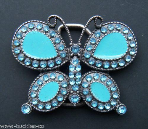 Butterfly Rhinestone Blue Turquoise Fashion Belt Buckle #butterfly #butterflies #rhinestonebutterfly #beltbuckle #buckle #buckles