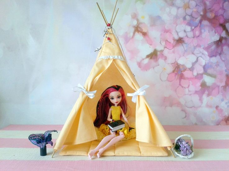 Another one teepee tent. Perfect for 12 inch and a little bigger dolls. This one teepee can be reserved. ;) #dollfashion #dolllife #dolllover #dollteepee #Miniatureteepee #Dolltipi #Miniaturetipi #Dolltent #MHteepee https://etsy.me/2vnfAP0