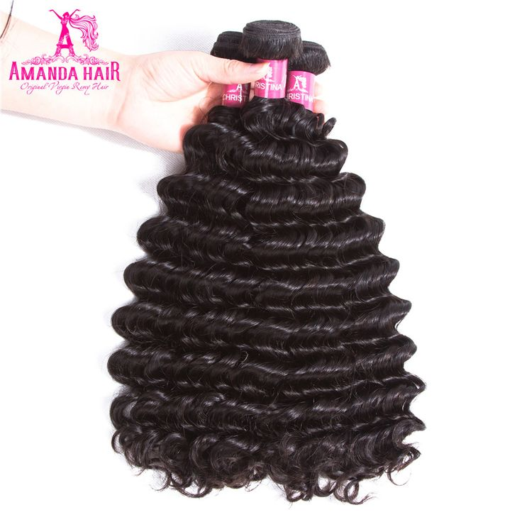 Amanda Peruvian Deep Wave Remy Hair 2 pcs Human Hair Bundles Natural Color Hair Extension Salon Hair
