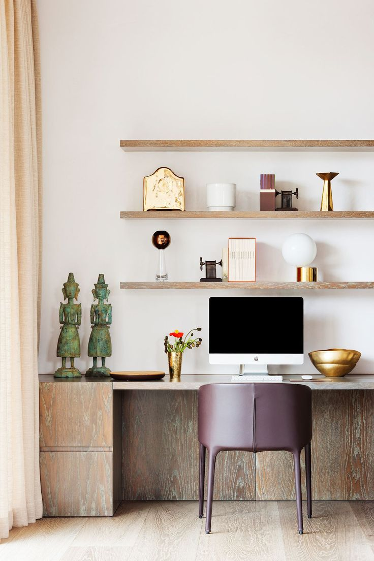 classic home office study with built-in shelves above desk, light wood, light pink curtains, purple desk chairs, gold accents