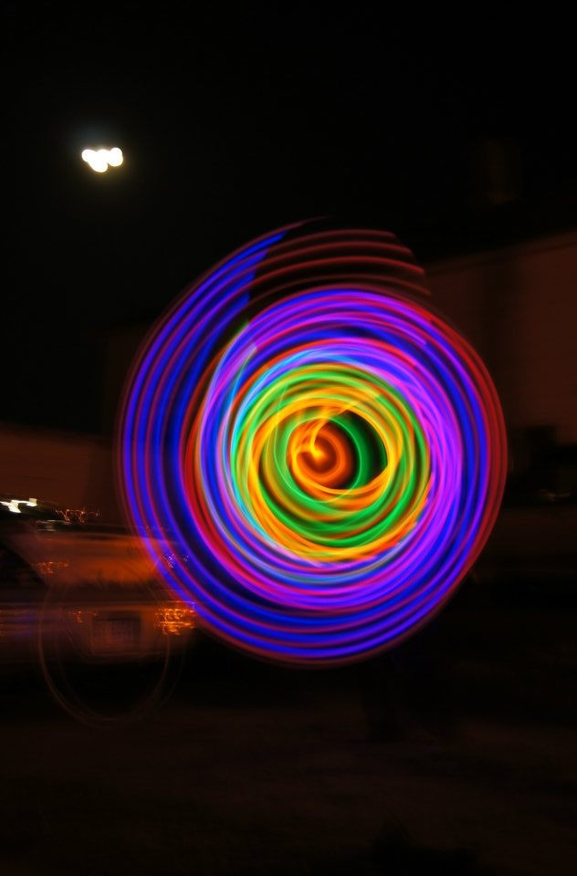 My friend and I playing with her new camera on a long shutter speed looks so cool