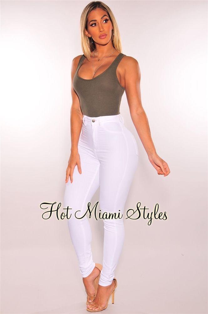 Weisse Denim Rohrenjeans Mit Hoher Taille Hair Love Nbsp Style Nbsp Beautiful White High Waisted Jeans High Waisted Jeans Outfit High Waisted Skinny Jeans
