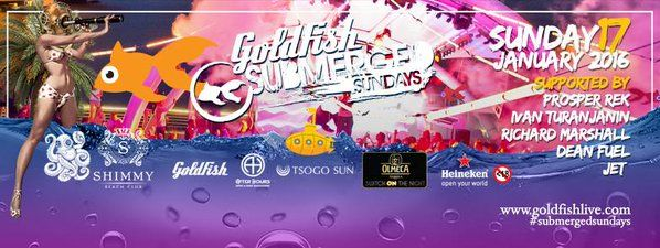 The DJ Lineup on 17th Jan at Shimmy Beach Club Goldfish Submerged Sunday