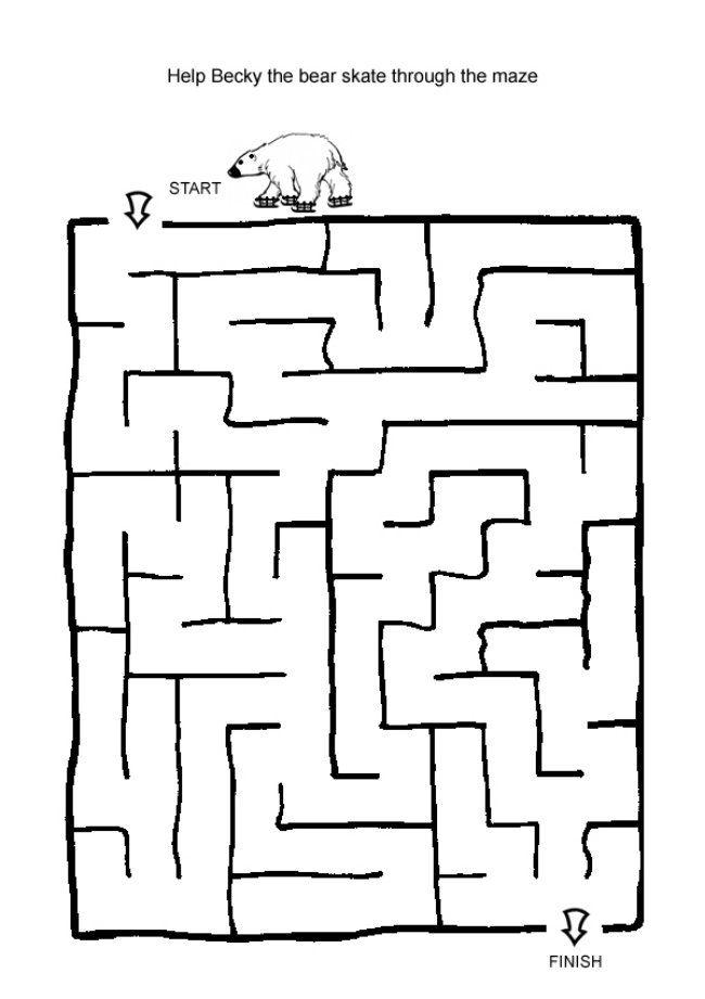 free christmas activities kids iceskating bear maze