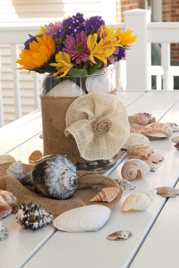 Casual beachy summer centerpiece centerpiece table do for Do it yourself table decorations