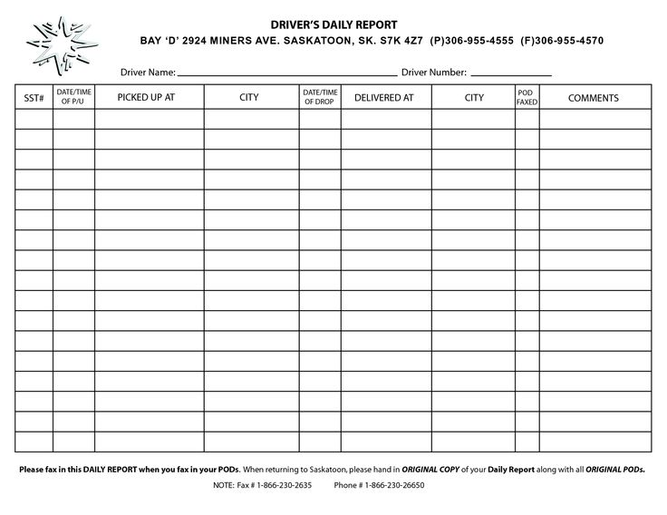 daily driver log templates - Google Search business forms - daily job report template