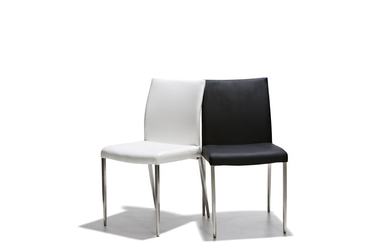 Bergen - Stol med sits och rygg i konstläder och ben i mattborstat stål.