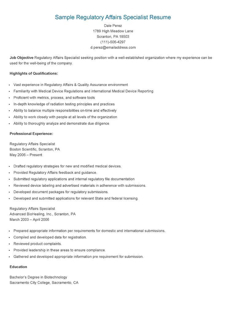 Sample regulatory affairs specialist resume regulatory