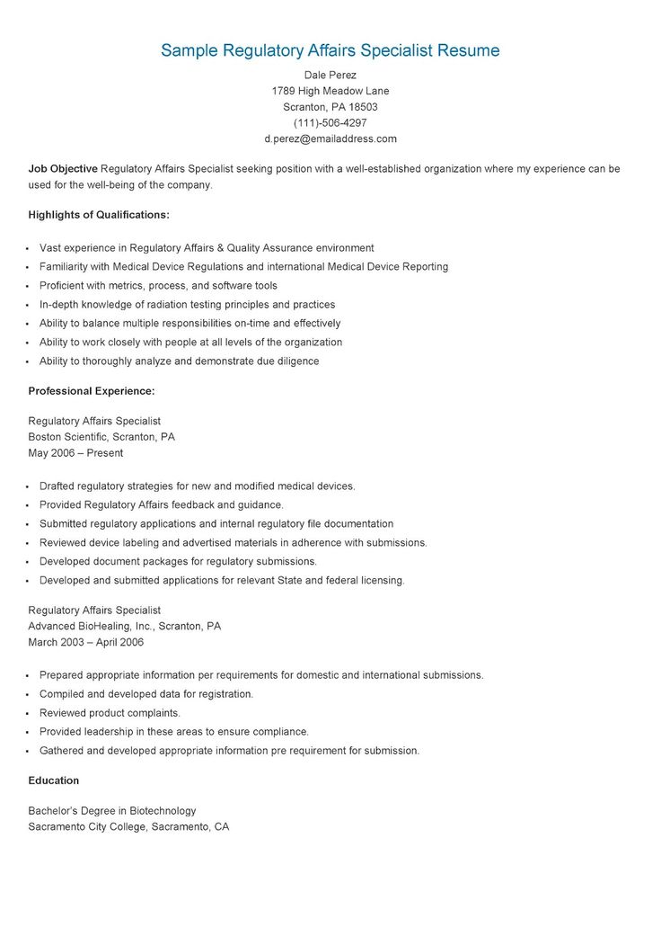 sle regulatory affairs specialist resume resame