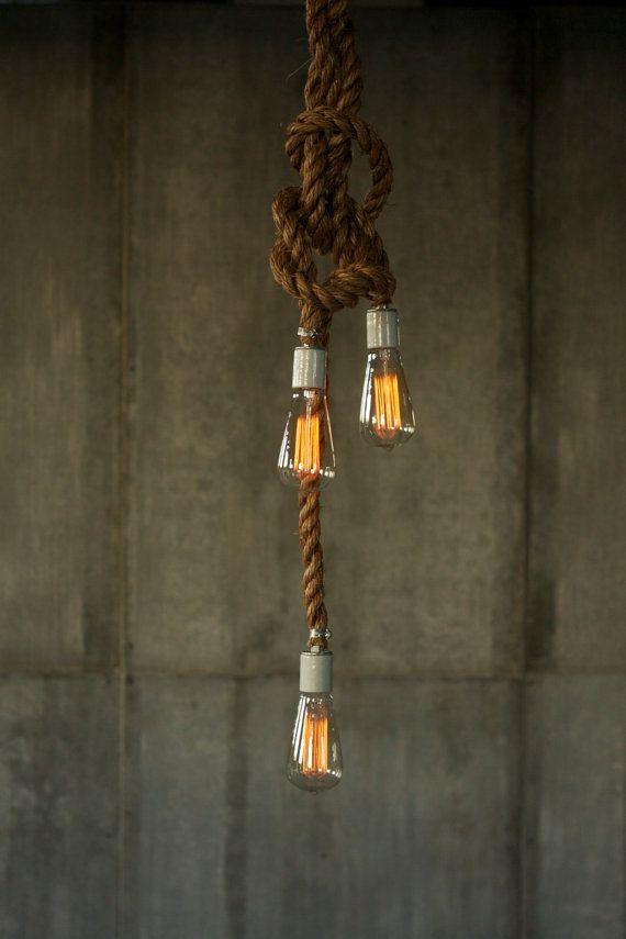 Lampadario illuminazione industriale luce corda di LukeLampCo
