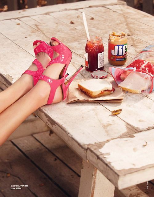 hi, society: Peanut Butter Jelly Pinwheels, Elle Spain, Jelly Shoes, Camil Row, Pink Heels, Primavera Circus, Matte Jones, Pink Stilettos, Camille Row