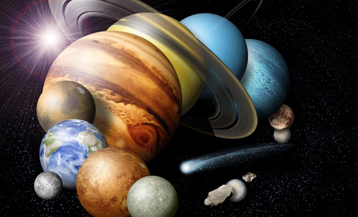 A montage of the planets and some of the moons in our solar system, not to scale. Credit: NASA/JPL