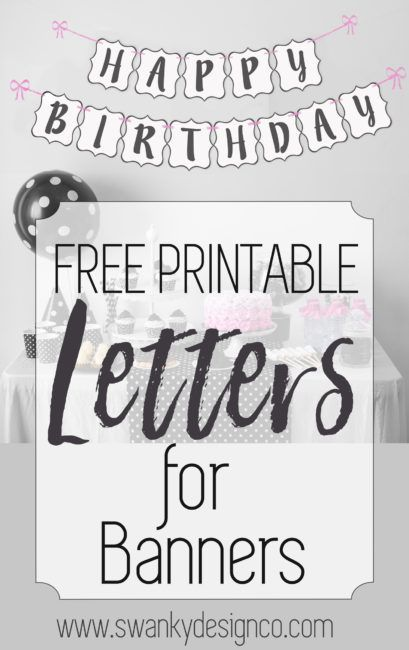 printable black  white banner letters printable