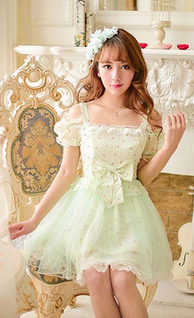 Japanese sweet floral lace strapless chiffon dress