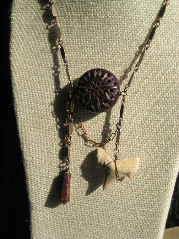 CLoVeN shark tooth, jasper & wood Bayou Voodoo necklace.