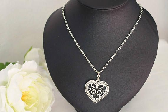 Filigree Heart Necklace  Antique Silver Heart Charm Jewelry