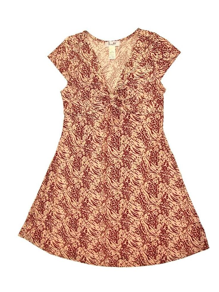 Chanceful Women's Cap Sleeve V-Neck Knot Front Animal Print A-Line Shift Dress Large Brown/Beige. FABRIC CONTENT: High quality women dress made with rayon spandex blend fabric, stretchy and comfortable with a soft touch!. FEATURES: Cap sleeve, knot at bust, all around animal print. CUTE & COMPLIMENTARY: Great for beach, cocktail, holiday, party, clubbing, events, casual, night out, and other occasions. MACHINE WASHABLE: Extremely durable and able to withstand repeated washings. Please…