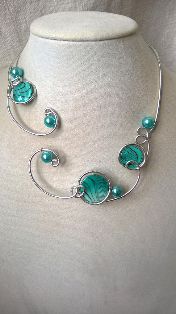OPEN COLLAR NECKLACE, LesBijouxLibellule, Aluminium wire necklace, Turquoise necklace, Turquoise jewelry, Wire wrapped necklace, Bridesmaid