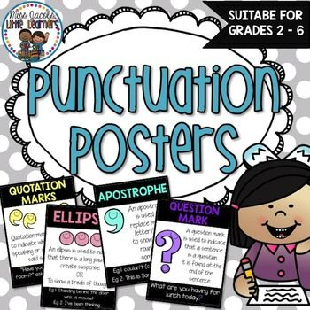 Punctuation Posters:Included in this Punctuation Posters pack are 12 Punctuation Posters suitable for Grades 2-6.