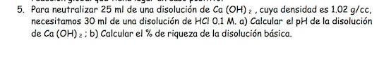 Ejercicio 5, propuesta 2, SETIEMBRE 1998. Examen PAU de Química de Canarias. Tema: ácido-base.
