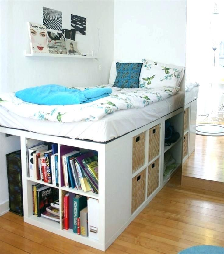 Elevated Bed Ideas Raised Bed With Storage Under Best Raised Beds Bedroom Ideas On Raised Platform Elevated Bed With E Ikea Kallax Shelf Ikea Bed Small Bedroom