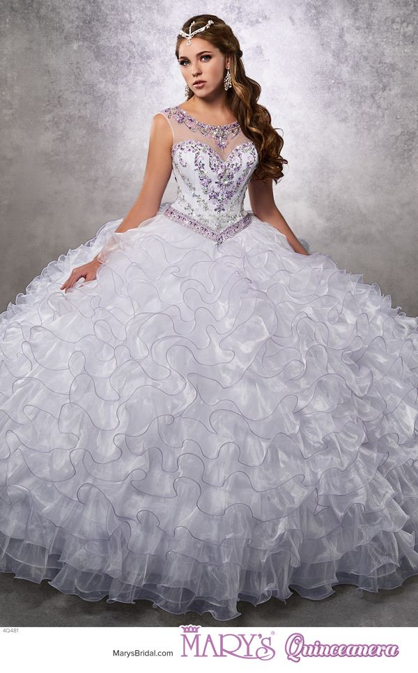 Unique Princess style Q u Organza quinceanera ball gown with beaded bodice illusion scoop neck line
