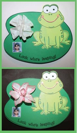"End of the year activities: Adorable ""Look who's leaping!"" frog on a lily pad.  I made the water lily out of a coffee filter.  Sweet end of the year bulletin board."