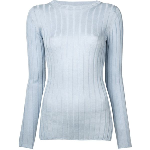 Cityshop ribbed jumper ($123) ❤ liked on Polyvore featuring tops, sweaters, blue, rib top, ribbed top, blue jumper, rib sweater and blue sweater