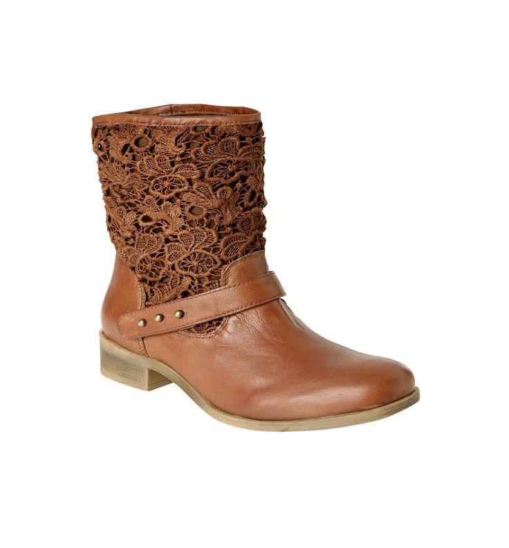 Boots cuir et dentelle femme - Terre de sienne - Chaussures - Femme - Promod