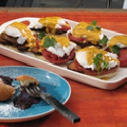 Image for Poached Eggs, Tasso Ham, Griddle Tomato and Cajun Hollandaise with English Muffins