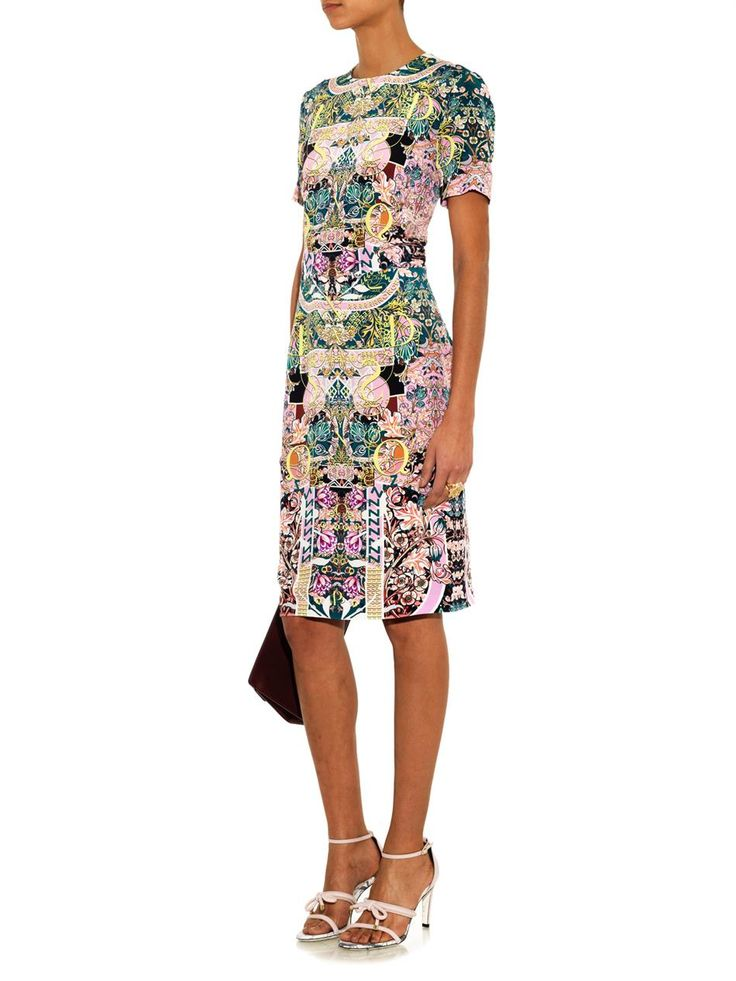 Mary Katrantzou Calligraphy-print silk dress