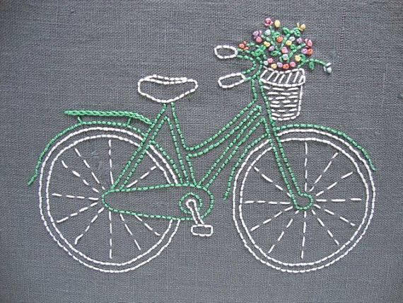 Designed and packaged by iHeartStitchArt, this bicycle embroidery pattern comes in a complete kit with thread and linen. The basket is brimful of bright and joyful flowers. Nothing says summer like a                                                                                                                                                                                 Más