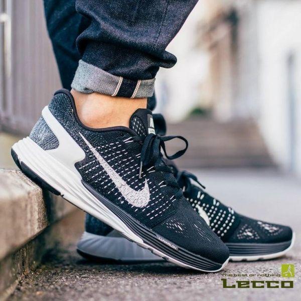 Обувь Мужские кроссовки Nike Flyknit Lunarglide 7 Black/Anthracite/White
