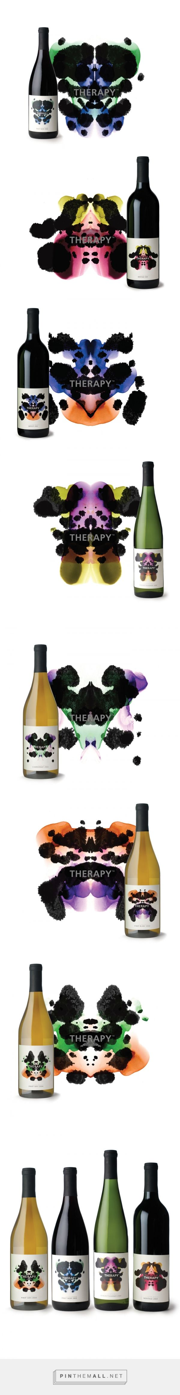 Art direction and packaging for award winning Therapy Vineyards on Behance by Branever Design Vancouver, BC curated by Packaging Diva PD. Features a distinctive inkblot design, based on the famous Rorschach Inkblot Test, back labels ask the consumer what they see in the wine, rather than telling them what they are about to taste.