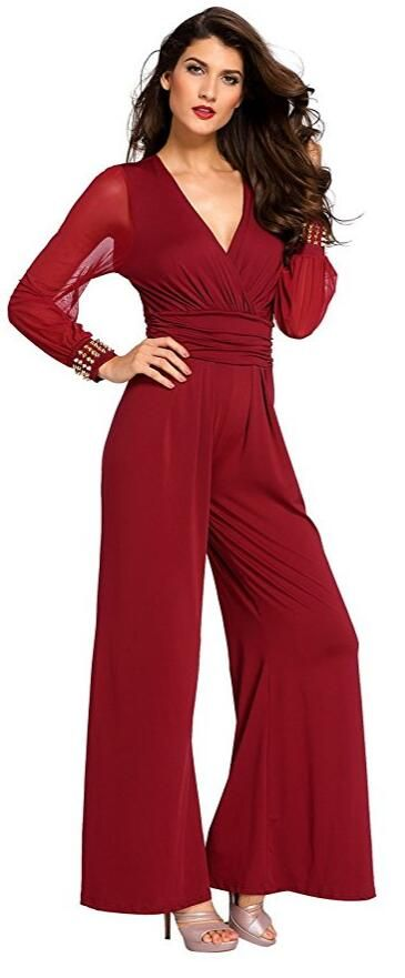 Women's Embellished Cuffs Wide Leg Long Sleeves Party Cocktail Formal Jumpsuit Rompers Pants