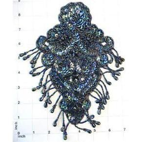 "Designer Motif Epaulet with Moonlite Sequins and Beads 8"" x 4"""