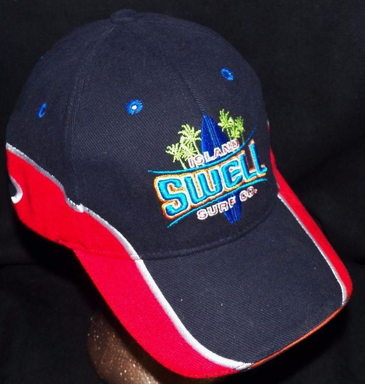 Island Swell Surf Company Hawaii Navy Hawaiian Surfboard Surfer Baseball Hat Cap #IslandCaps #BaseballCap